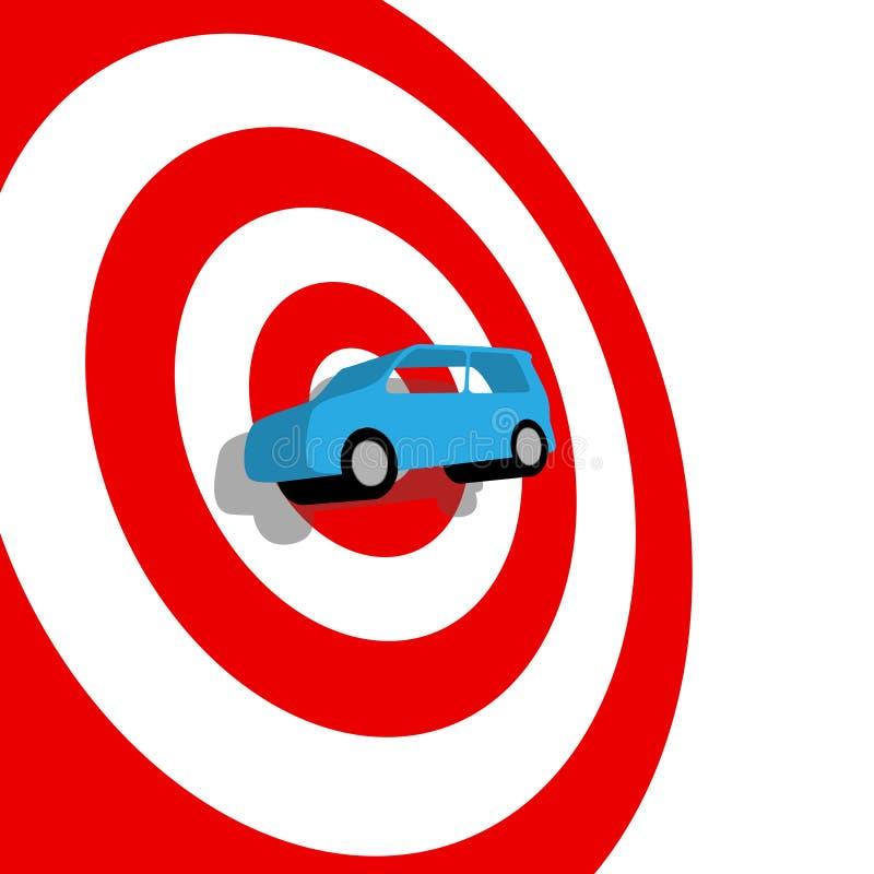 De jacht van de auto het winkelen 3D auto op doel bullseye royalty-vrije illustratie