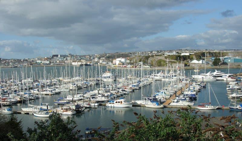 De Jachthaven, Millbay, Plymouth Devon het UK stock afbeeldingen