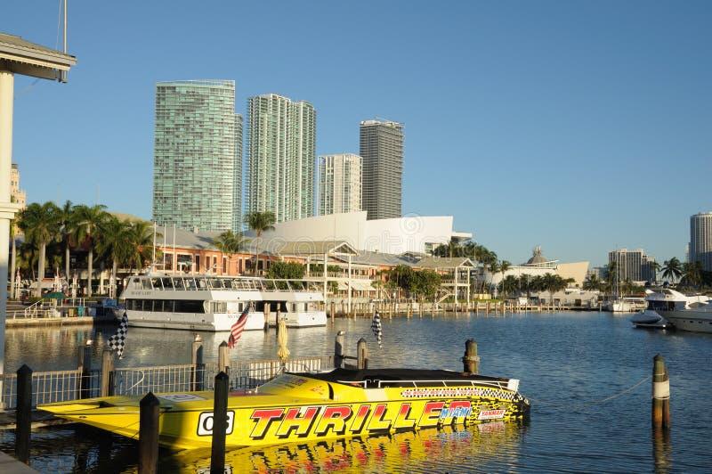 De Jachthaven van Bayside, Miami stock afbeelding
