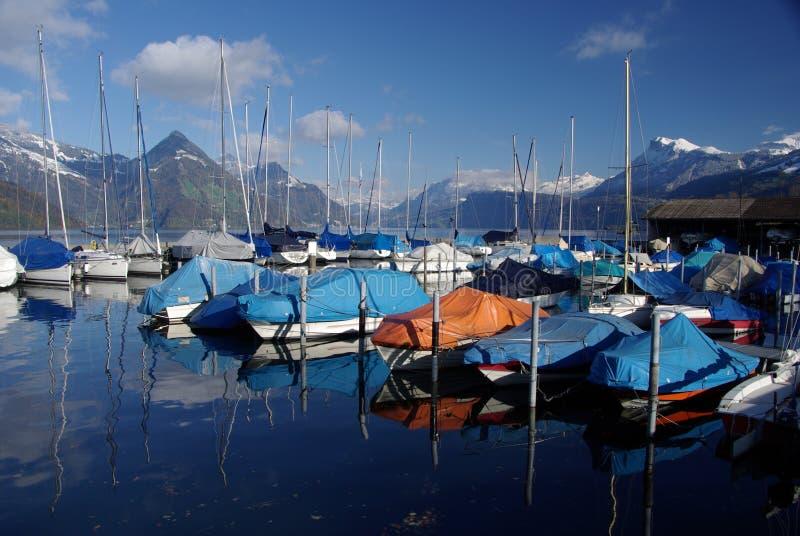 De Jachthaven van Buochs op Meer Luzerne stock foto's