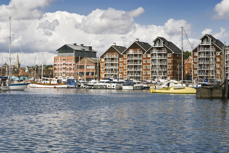 De jachthaven van Ipswich stock afbeelding