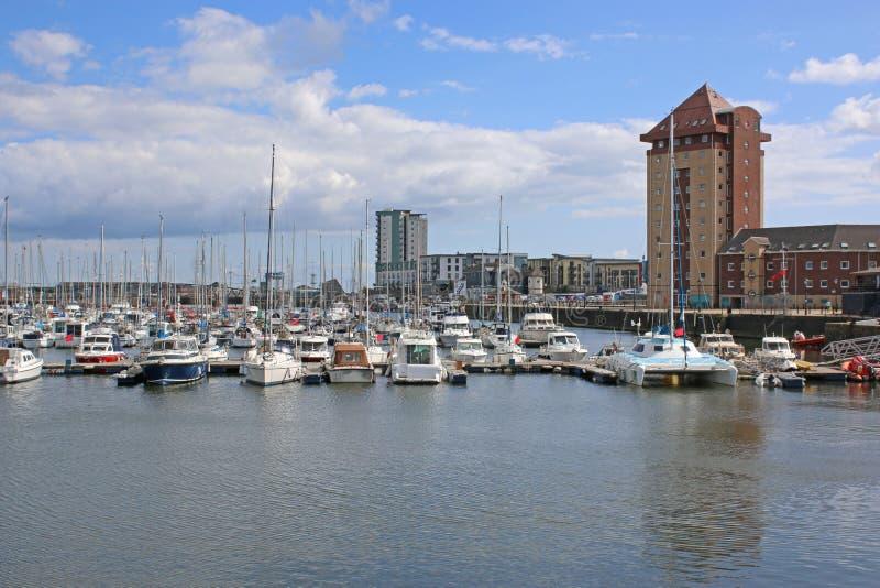 De Jachthaven van Swansea stock afbeelding