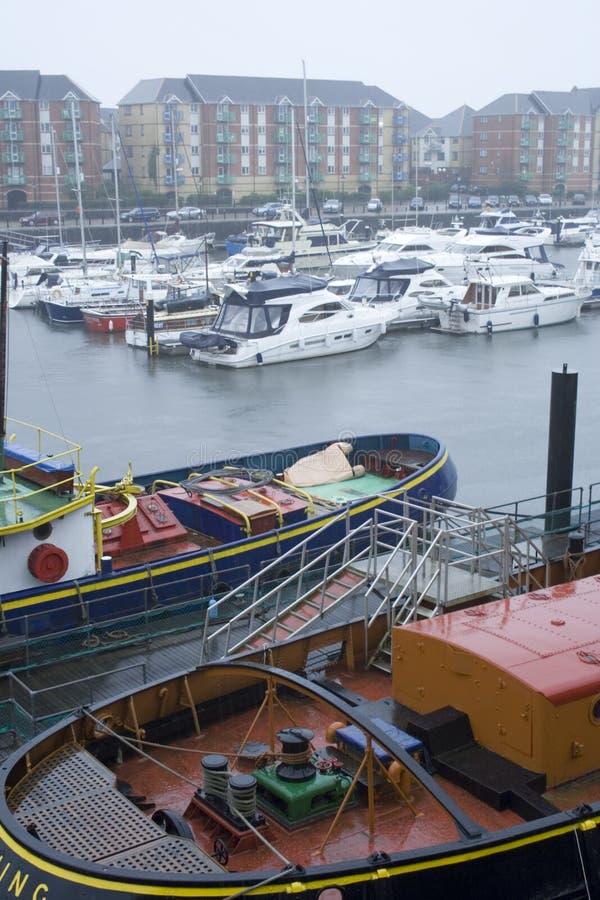 De Jachthaven van Swansea in de regen. royalty-vrije stock foto