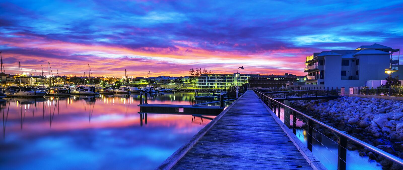 De jachthaven van zonsopgangmindari, Perth, Australië stock afbeelding
