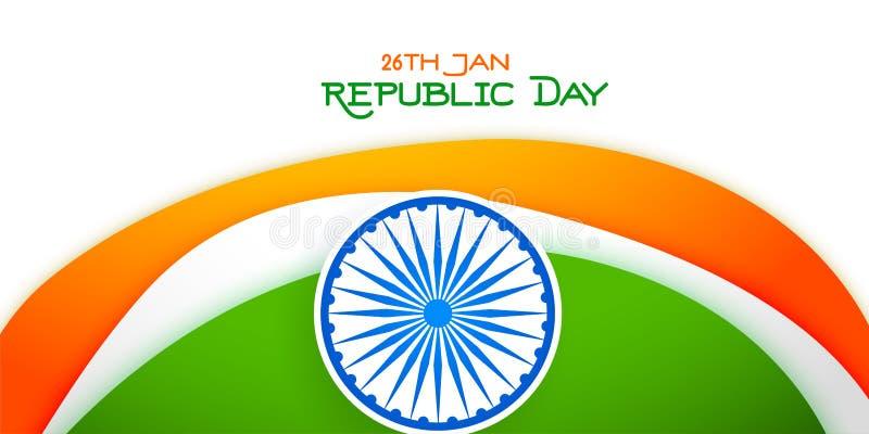 26 de janeiro bandeira tricolor do dia feliz da república ilustração stock