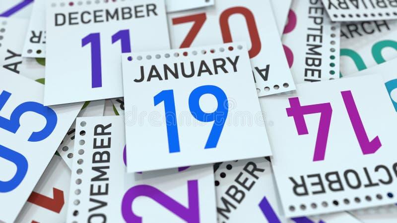 19 de janeiro data na página sublinhada do calendário, rendição 3D ilustração royalty free