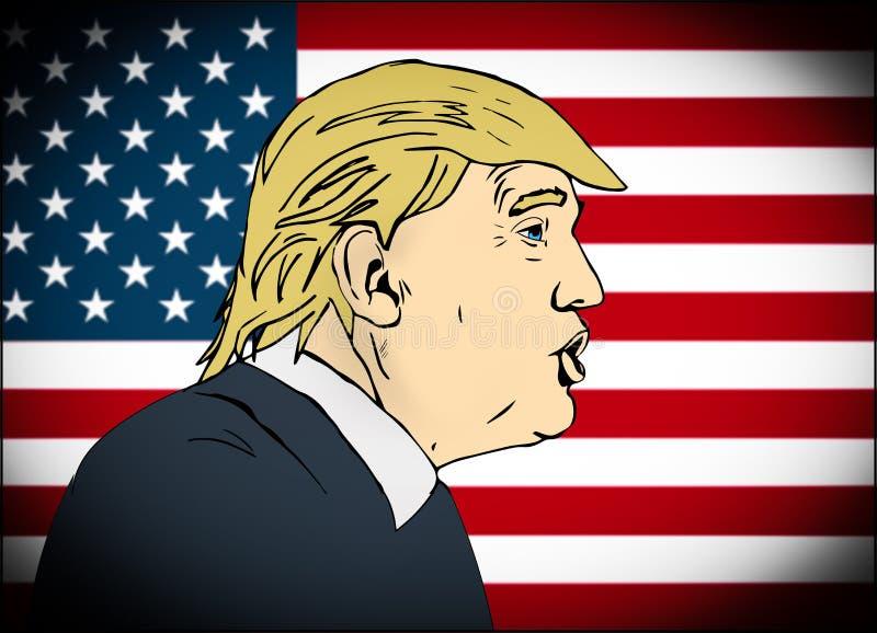 25 de janeiro de 2017: ilustração do presidente americano Donald Trum ilustração royalty free