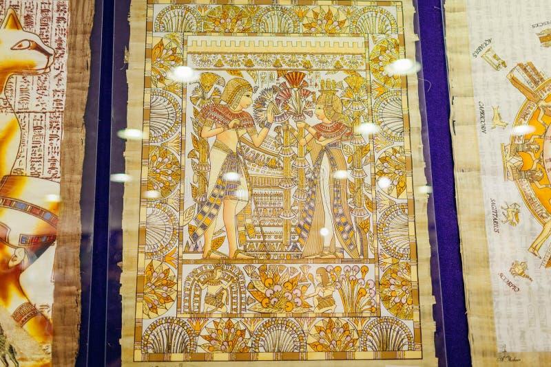 27 de janeiro de 2019 - Egito, Sharm el-Sheikh Pintura do papiro indicada na loja imagens de stock royalty free