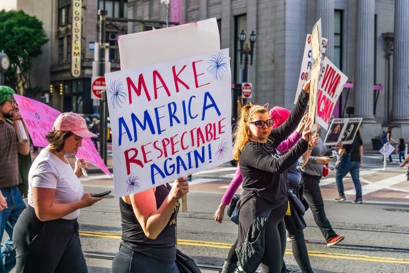 19 de janeiro de 2019 San Francisco/CA/EUA - evento do março das mulheres foto de stock