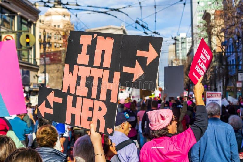 19 de janeiro de 2019 San Francisco/CA/EUA - o março das mulheres 'eu sou com seu 'sinal fotos de stock