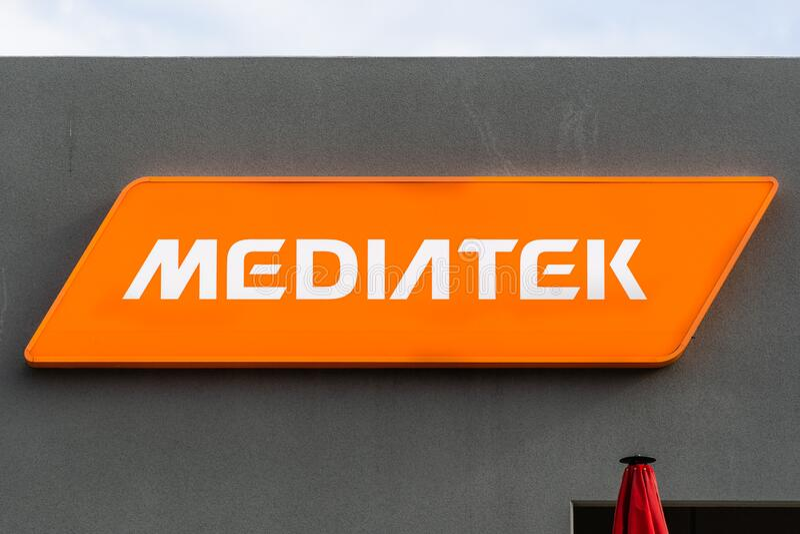 12 de janeiro de 2020 San Jose / CA / USA - Feche a placa MediaTek em sua sede no Vale do Silício; MediaTek Inc é um taiwanês fotografia de stock royalty free