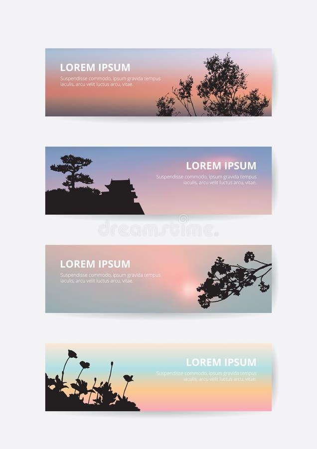 De Japanse banner van de de zonsonderganghemel van het kasteellandschap, de pijnboomboom en sakura silhouetteren referentie vector illustratie