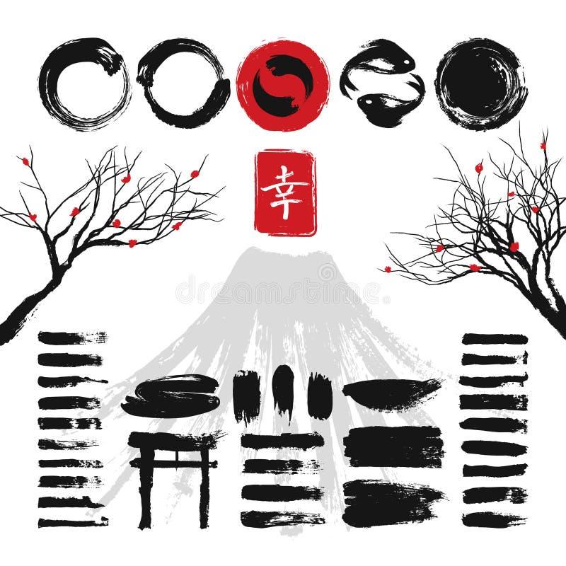 De Japanse borstels van de inkt grunge kunst en de Aziatische vectorreeks van ontwerpelementen royalty-vrije illustratie