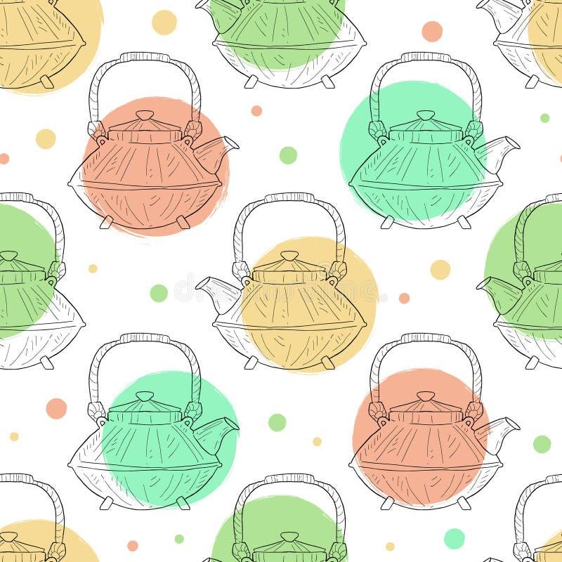 De Japanse Ceramische Getrokken Vectorillustratie van het Theepot Naadloze Patroon Hand vector illustratie