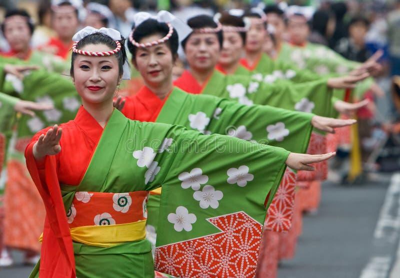 De Japanse Dansers van het Festival royalty-vrije stock foto's