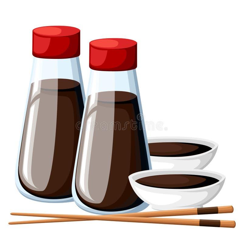De Japanse eetstokjes en de sojasaus in een witte komsojasaus in transparante die flessen met rood dekken illustratie af op w wor stock illustratie