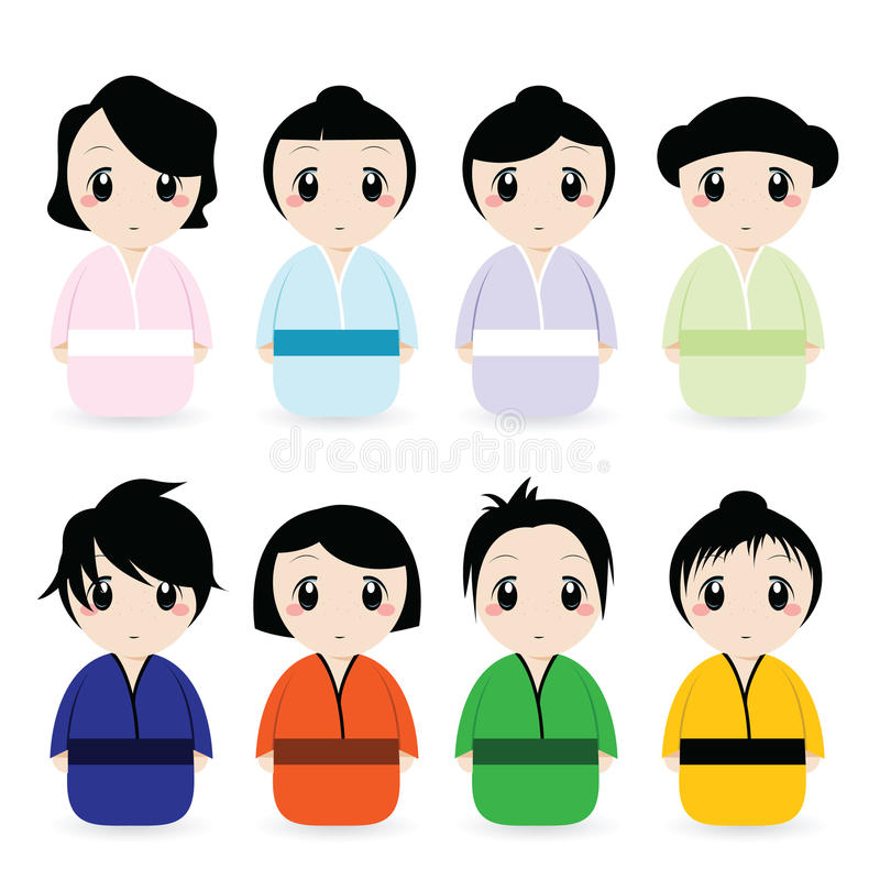 De Japanse Geplaatste Vrouwen van het beeldverhaal vector illustratie