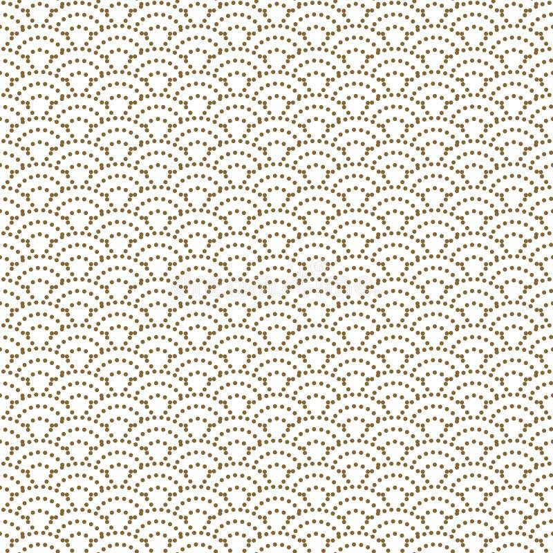 De Japanse golf stippelde traditioneel vector naadloos patroon in de gouden stijl van de lijnkleur royalty-vrije illustratie