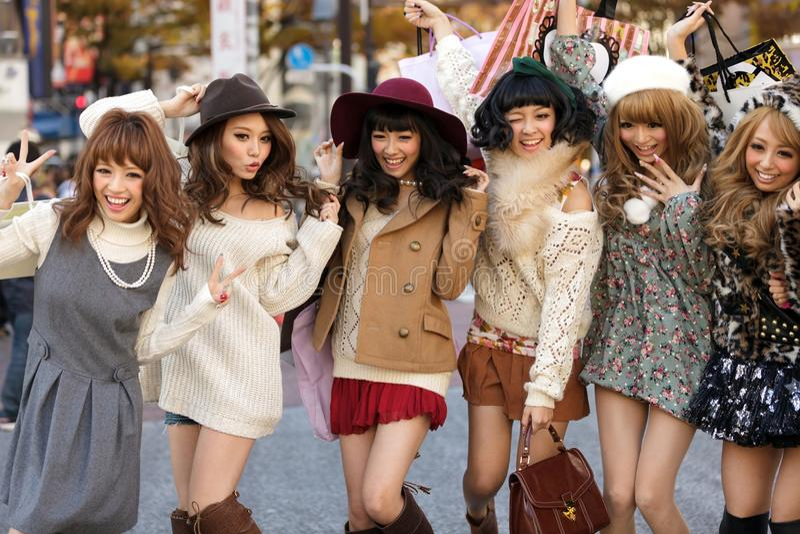 De Japanse groep van maniermeisjes royalty-vrije stock afbeelding