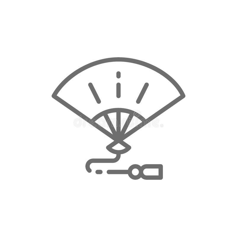 De Japanse handfan, traditionele geisha verandert lijnpictogram van richting vector illustratie