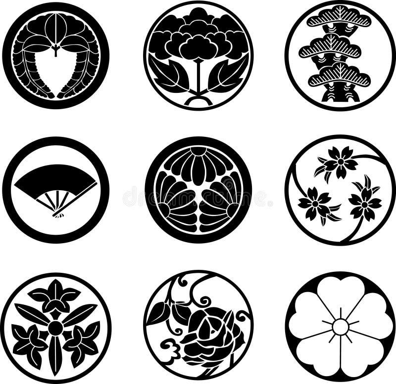 De Japanse Kammen Van De Familie Vector Illustratie Illustratie