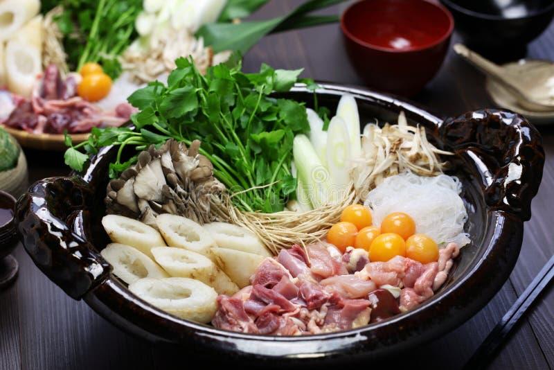 De Japanse keuken van de kippen hete pot royalty-vrije stock afbeeldingen