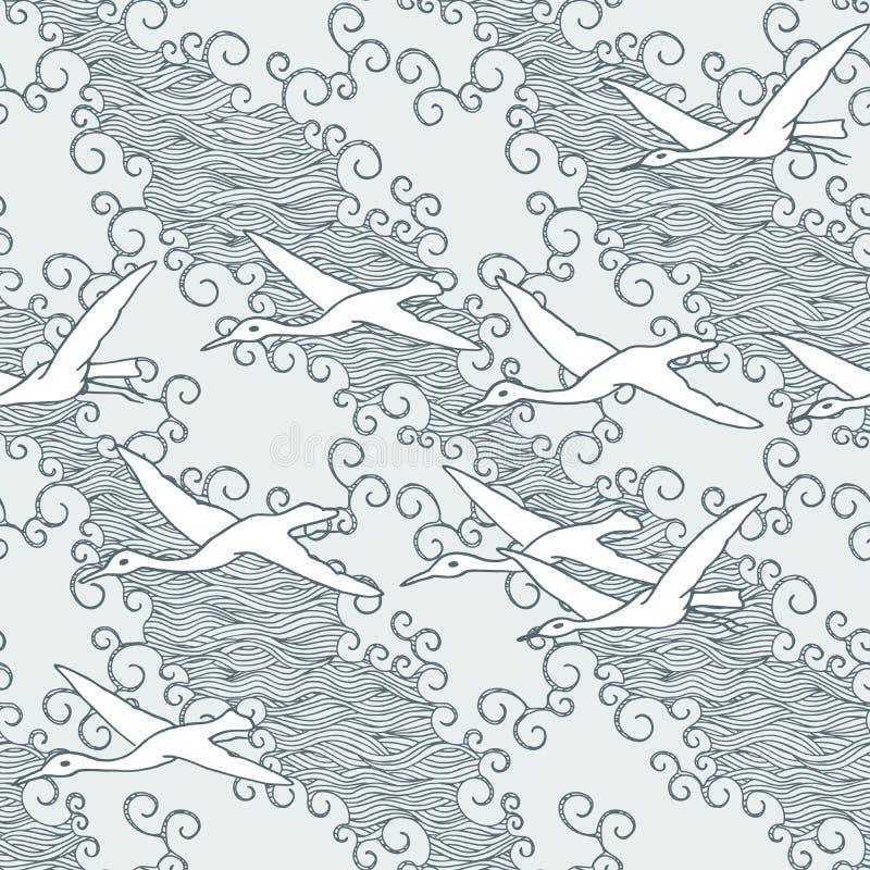 De Japanse kunst inspireerde naadloos patroon met vogels en golven royalty-vrije illustratie