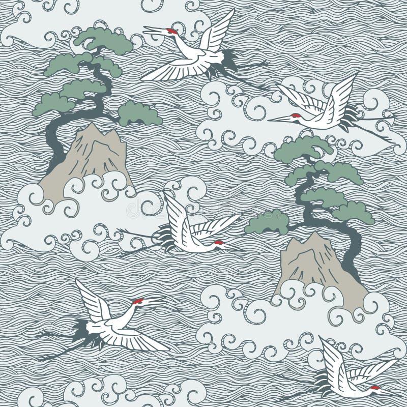 De Japanse kunst inspireerde naadloos patroon met vogels en golven stock illustratie
