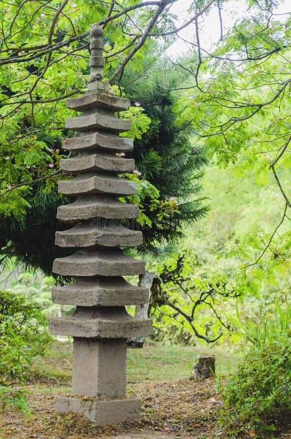 De Japanse omringde lantaarn van de graniettuin stock fotografie