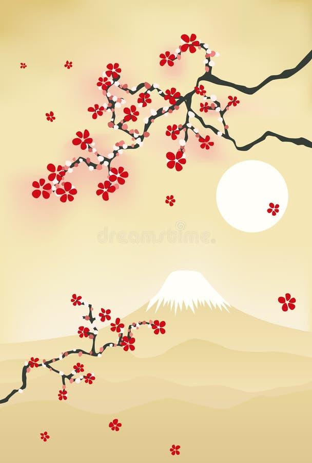 De Japanse prentbriefkaar van de kersenbloesem stock illustratie