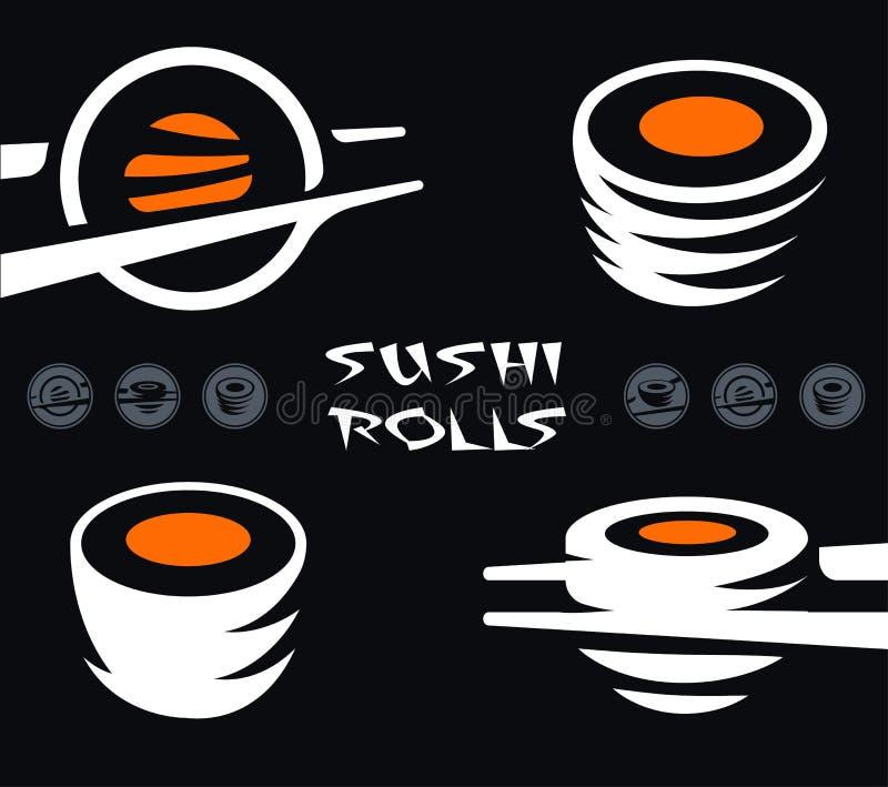 De Japanse reeks van het schotelpictogram, koude gekookte rijst met ruwe rode vissen versiert De sushi en de broodjes versperren  royalty-vrije illustratie