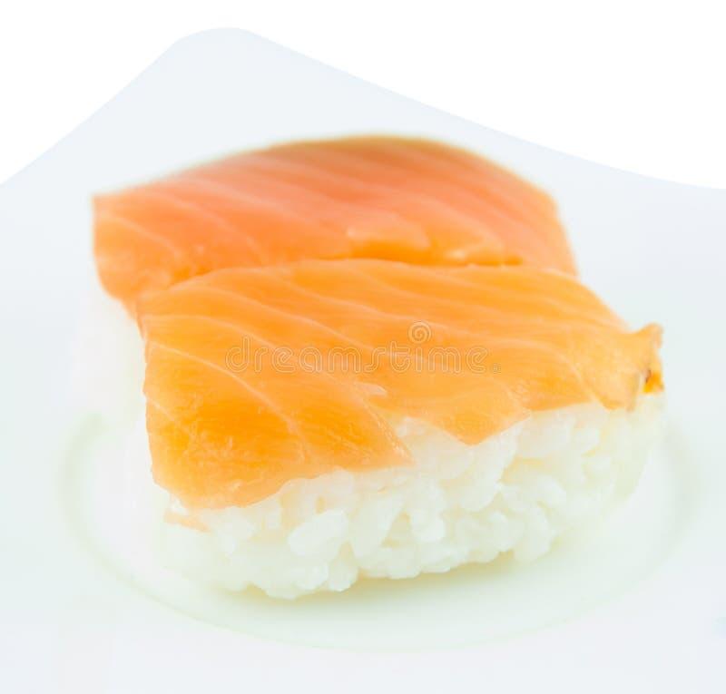 De Japanse traditionele sushi van de keukenzalm royalty-vrije stock fotografie