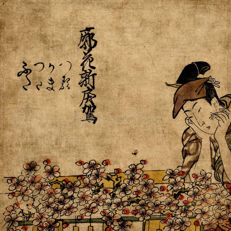 De Japanse vrouw van de geisha in traditionele kleding royalty-vrije stock foto's