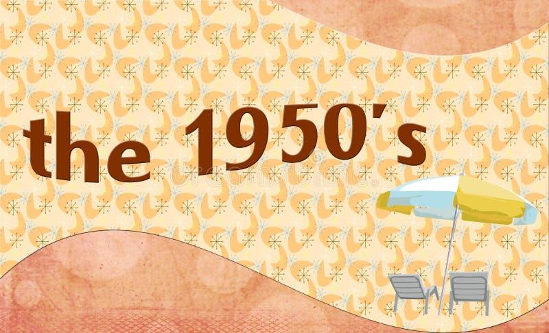 De jaren '50 - de achtergrond van de bannerstijl met de stoelen en de paraplu van het de zomerterras vector illustratie