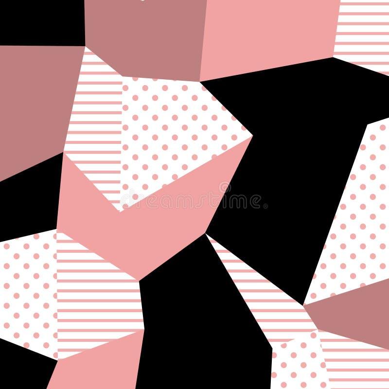 de jaren '80 en jaren '90 retro stijl Het patroon van Memphis Neigend abstract ontwerp met geometrische vormen royalty-vrije illustratie