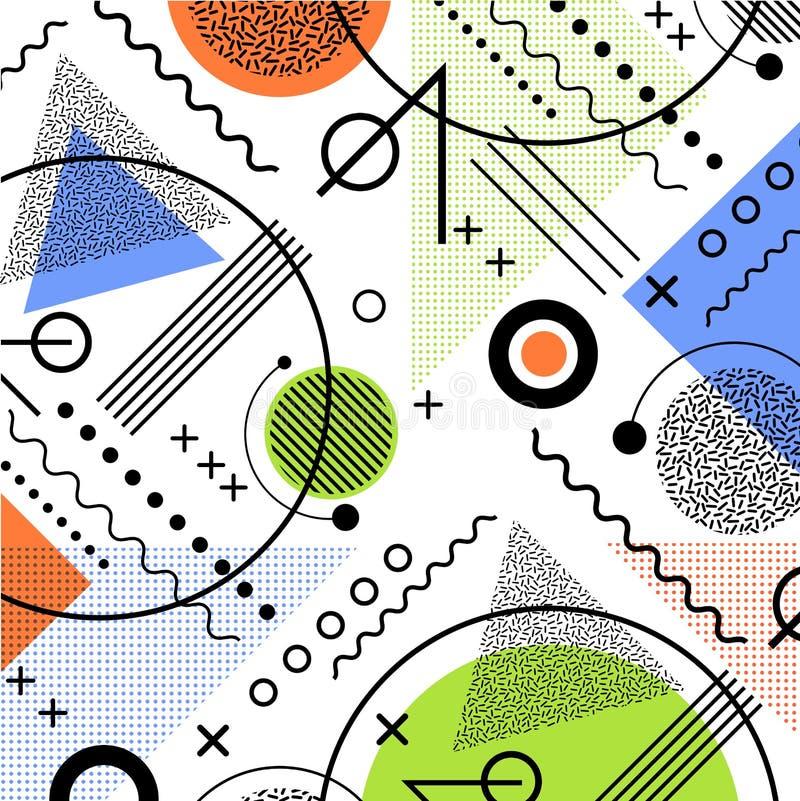 de jaren '80 geïnspireerde het patroonachtergrond van Memphis royalty-vrije illustratie