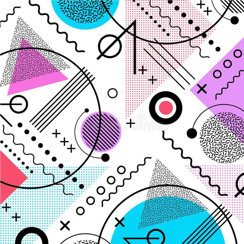 de jaren '80 geïnspireerde het patroonachtergrond van Memphis vector illustratie