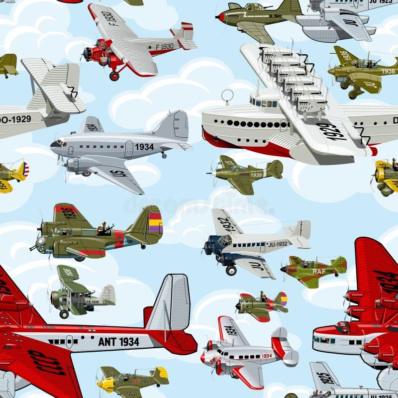 De jaren '30 naadloos patroon van beeldverhaal retro vliegtuigen royalty-vrije illustratie