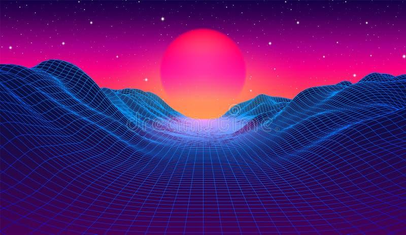 de jaren '80 synthwave gestileerd landschap met blauwe netbergen en zon over canion stock illustratie
