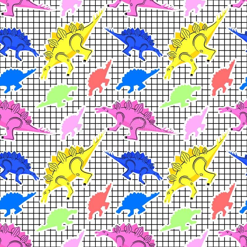 De jaren '80 van patroondinosaurussen stock illustratie