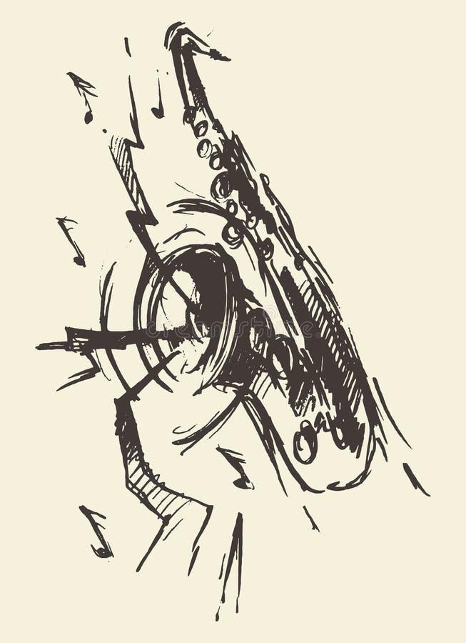 De jazz retro stijl getrokken vector van de schetssaxofoon royalty-vrije illustratie