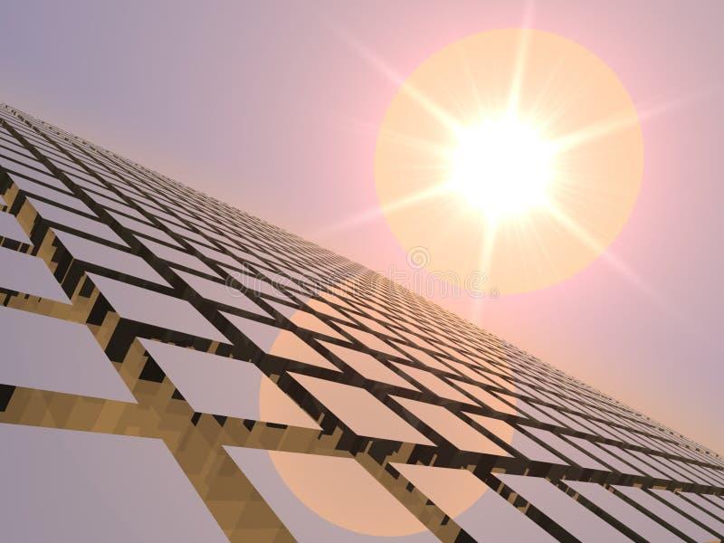 De Jazz van de zonsondergang over het Net van de Kubus stock illustratie