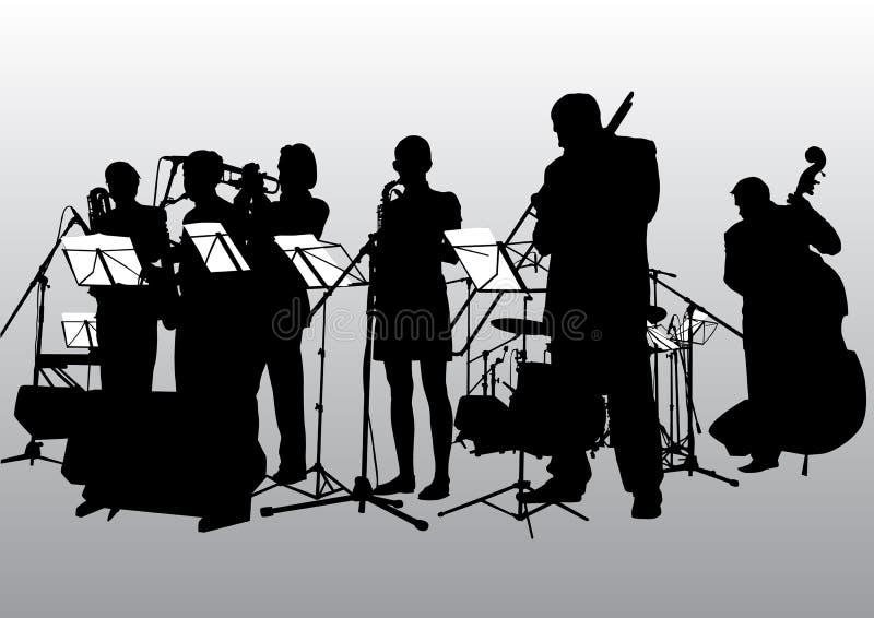 De jazzband van de muziek royalty-vrije illustratie