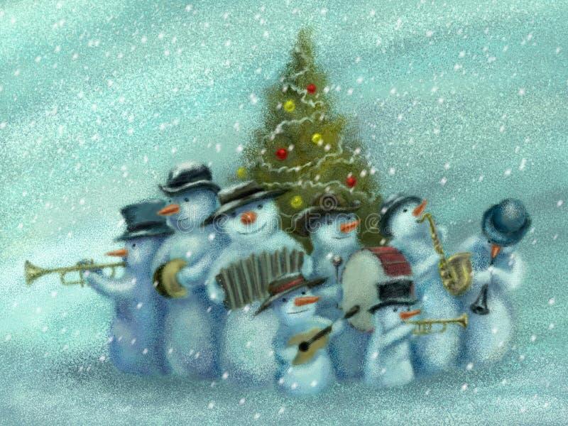De jazzband van sneeuwmannen vector illustratie