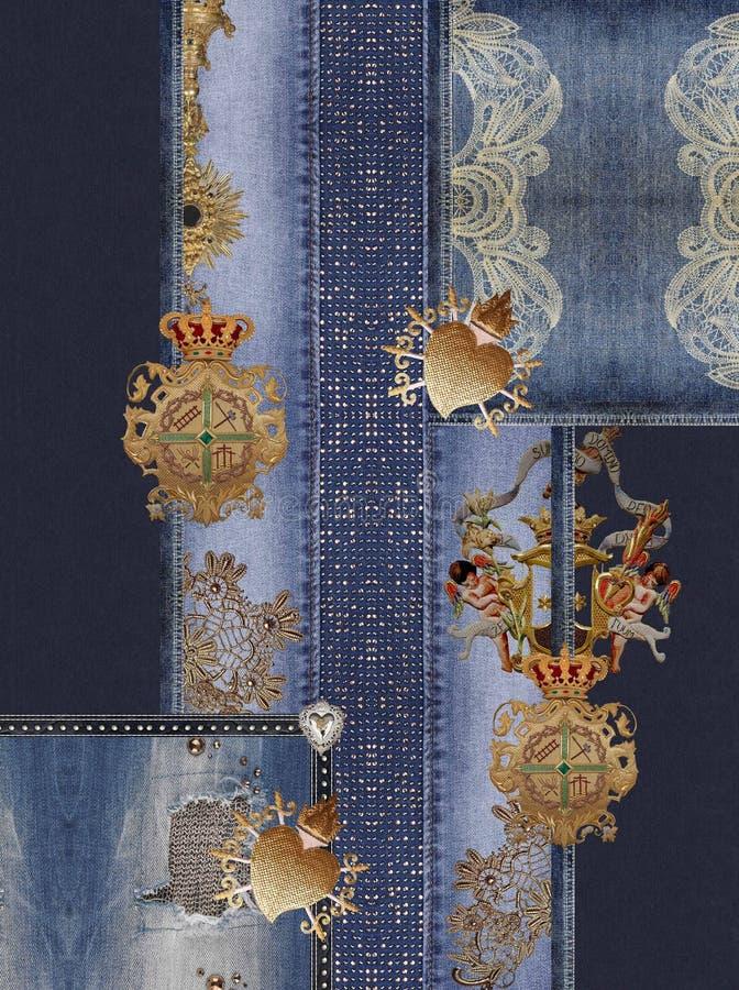 De jeanstextuur van het borduurwerk gouden element stock afbeelding