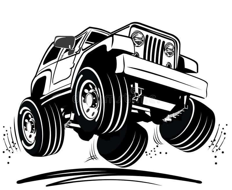 De jeep van het beeldverhaal royalty-vrije illustratie