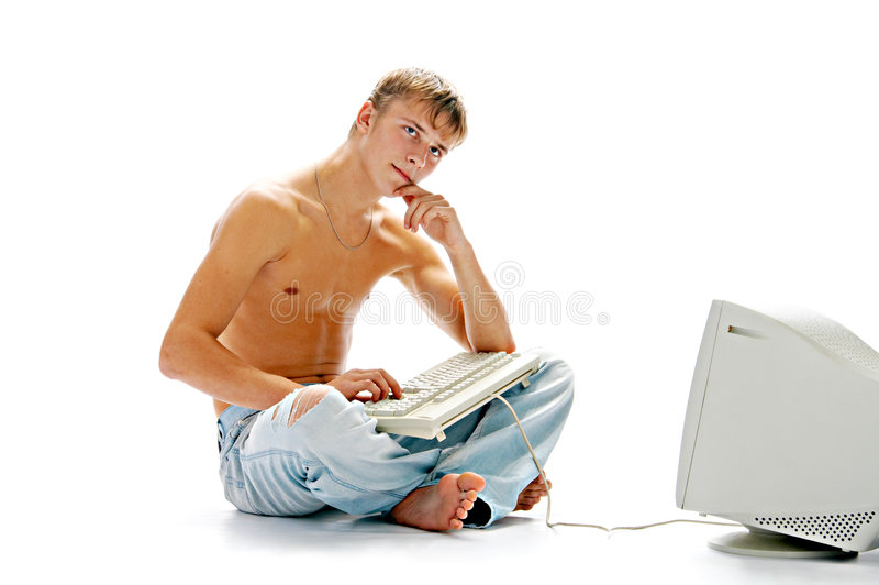 De jeugd met computer stock afbeeldingen