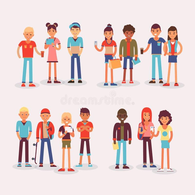 De de jeugdtienerjaren groeperen vector gegroepeerde tieners en vriendenkarakters van meisjes of jongens samen illustratie jonge  royalty-vrije illustratie