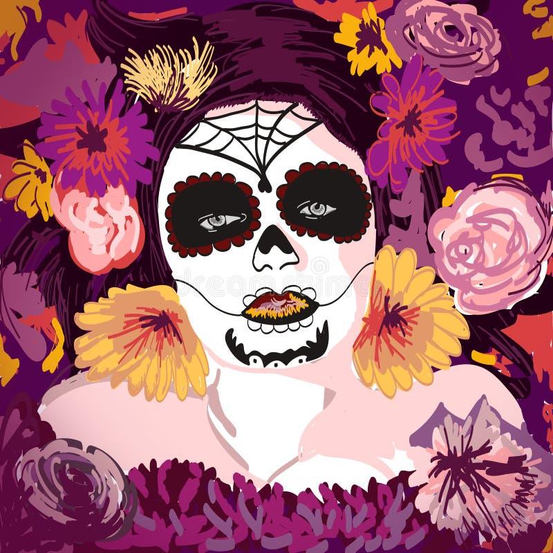 De jeunes fille y de Sugar Skull de Mexicain assez avec le flowe illustration de vecteur