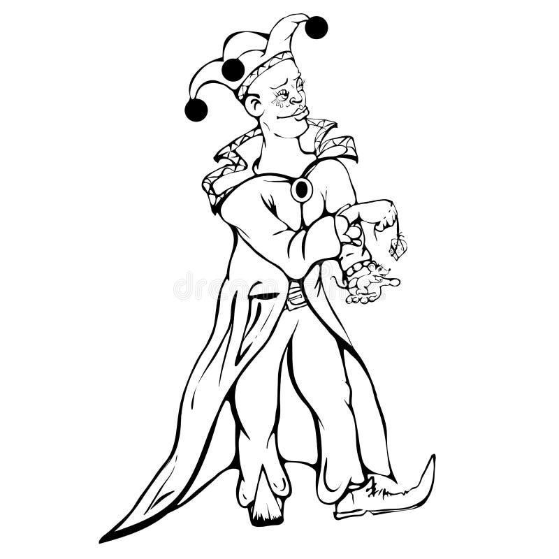 De joker voedt de muis met kaas royalty-vrije stock foto